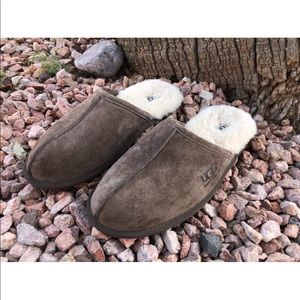 Ugg Brown Suede Leather Slip On Slide Slippers